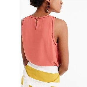 J. Crew Petite Drapey Top With Ladder Ladder Trim